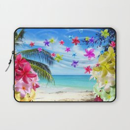Tropical Beach and Exotic Plumeria Flowers Laptop Sleeve