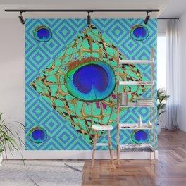 Blue Shades Abstract Modern Art Deco Pattern Art Wall Mural