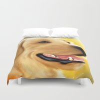 lab Duvet Covers featuring Yellow Lab by Becky's Digital Art