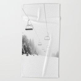 Snow Lift // Ski Chair Lift Colorado Mountains Black and White Snowboarding Vibes Photography Art Print Beach Towel