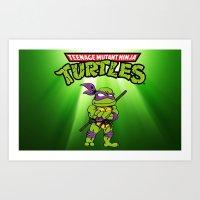 ninja turtle Art Prints featuring Ninja Turtle by flydesign