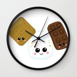 Kawaii Graham Cracker Kawaii Marshmallow Kawaii Chocolate Kawaii Smores Wall Clock