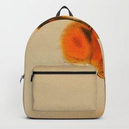 Orange Fluffy Kitten Japanese vintage Woodblock Print Backpack