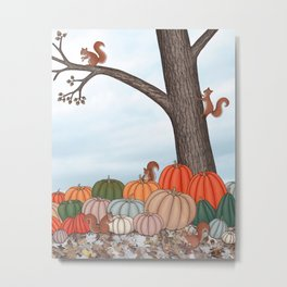 heirloom pumpkins, squirrels, & the oak tree Metal Print