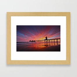 Sunset Huntington Beach Pier CA   Framed Art Print