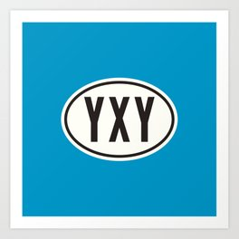Whitehorse Yukon Canada YXY • Oval Car Sticker Design with Airport Code • Ocean Blue Art Print