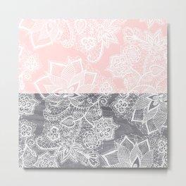 Elegant floral lace gray wood pastel pink block  Metal Print