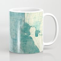 ohio state Mugs featuring Ohio State Map Blue Vintage by City Art Posters
