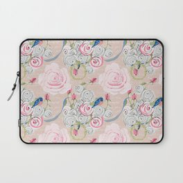 Watercolor Roses and Blush French Script Laptop Sleeve