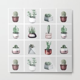 Cactus Bunch Grid Rose Gold Gray Green Metal Print