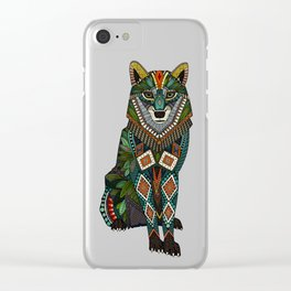 wolf red Clear iPhone Case