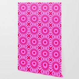 Fuchsia Pink Flowers Mandala Wallpaper