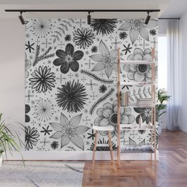 black and white floral print Wall Mural