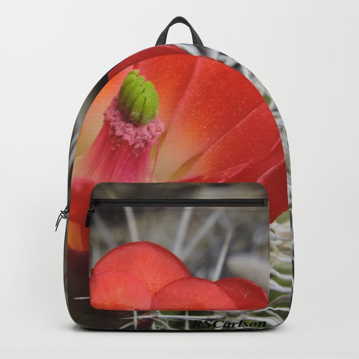 Red Blossom on a Hedgehog Cactus Backpack