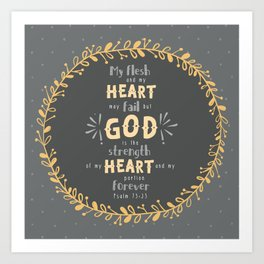 """Strength of my Heart"" Hand-Lettered Bible Verse Art Print"
