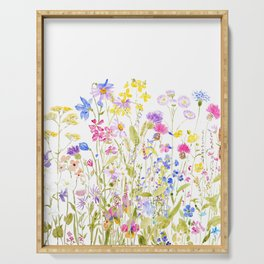 colorful meadow painting Serving Tray