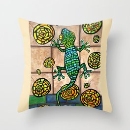 Mosaic Lizard Throw Pillow