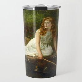 """John Collier """"The Butterfly inscribed 'Portrait of Mabel...'"""" Travel Mug"""