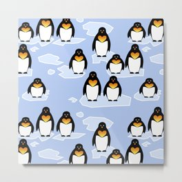 Penguin Pattern Metal Print