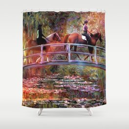 Riding with Monet Shower Curtain