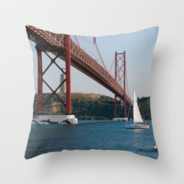 Lisbon Bridge 25 abril Throw Pillow