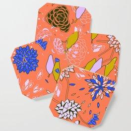 Orange Flower Pattern Coaster