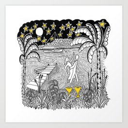 Beach Dancing under Stars Zentangle Style Art Print