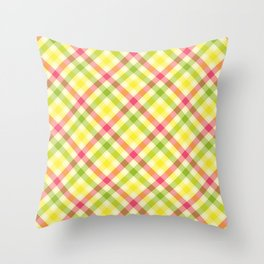 Yellow, Green and Pink Diagonal Plaid Pattern Throw Pillow