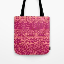 Mountain Tapestry in Sunset Pink Tote Bag