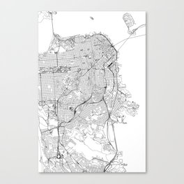 San Francisco White Map Canvas Print