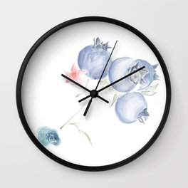 Red White & Blues ・Rustic Blueberries Wall Clock