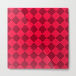 Plaid red tones . Cell . Metal Print