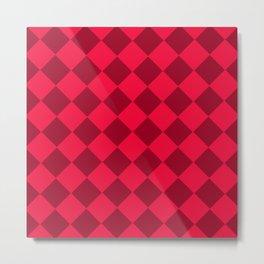 Plaid red tones . Cell . Metal Print
