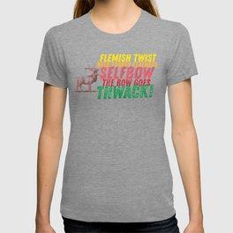 Flemish Twist - Wild Turkey Feather - Selfbow - The Bow Goes - Thwack T-shirt