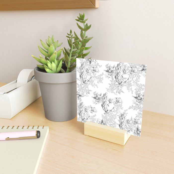 PEACOCK LILY TREE AND LEAF TOILE GRAY AND WHITE PATTERN Mini Art Print