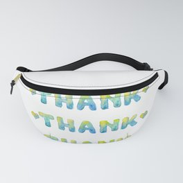 Thank - Word By Watercolor On white Background. Watercolor Fanny Pack