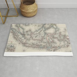 Vintage Map of Indonesia and The Philippines Rug