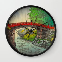 Vintage Japanese Woodblock Print Garden Red Bridge River Rapids Beautiful Green Forest Landscape Wall Clock