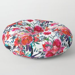 Pink red teal watercolor hand painted floral Floor Pillow