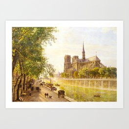 L'lle de la Cite and the Cathedral of Notre Dame, Paris from Quai Montebello by Firmin-Girard Art Print