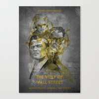 wolf of wall street Canvas Prints featuring The Wolf of Wall Street  by Becca Kelly