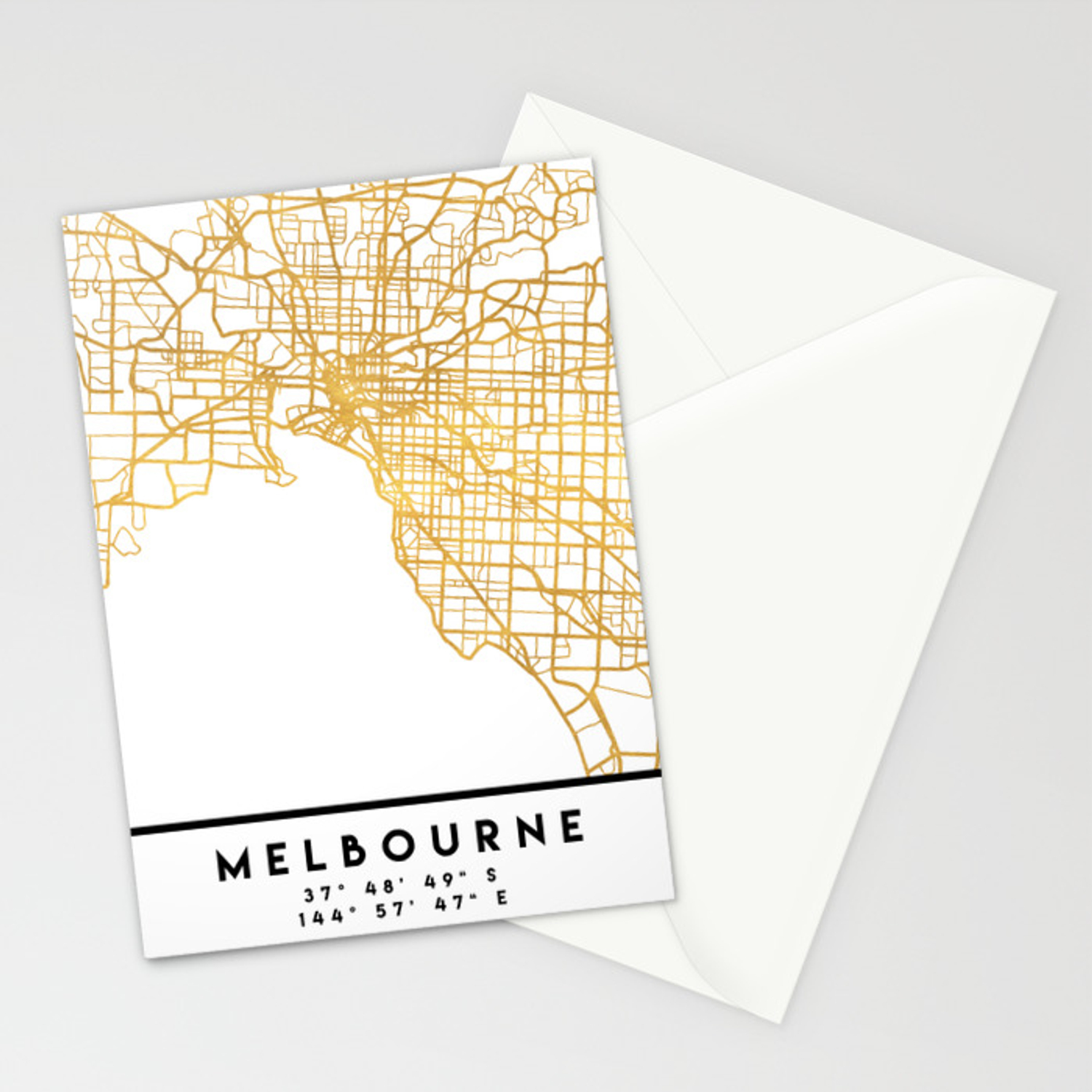 Melbourne Australia On A Map.Melbourne Australia City Street Map Art Stationery Cards By Deificusart