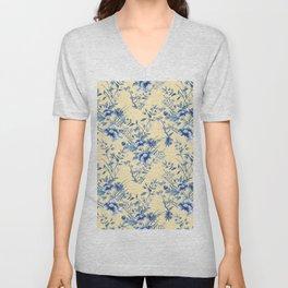 Chinoiserie Flowers Blue on Lemon Honey Creme Unisex V-Neck