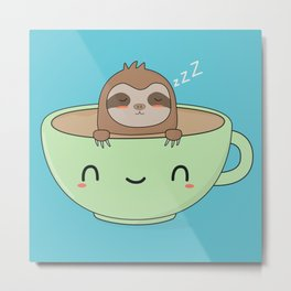Kawaii Cute Lazy Sloth Metal Print