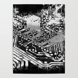 platine board conductor tracks splatter watercolor black white Poster