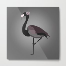 Black Flamingo Metal Print