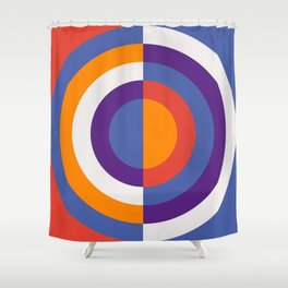 Circles Number Two - Red And Blue Shower Curtain