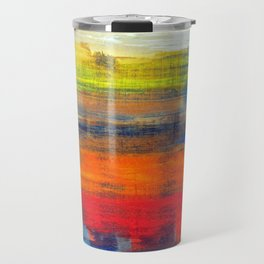 Horizon Blue Orange Red Abstract Art Travel Mug