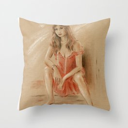 Sexy Lady in Red Dress Throw Pillow