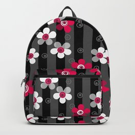 Crimson and white flowers on a black striped background Backpack